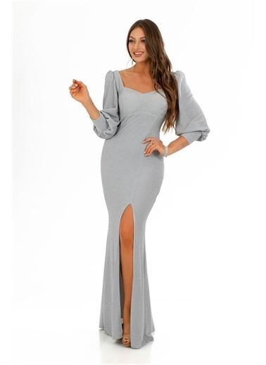 Carmen Örme Kare Yaka Yırtmaçlı Abiye Elbise Gri
